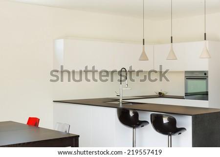 Architecture modern design, interior, domestic kitchen - stock photo