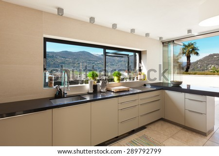 architecture, modern house, beautiful interiors,  domestic kitchen - stock photo