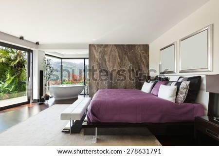 architecture, modern house, beautiful interiors, wide bedroom - stock photo