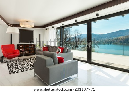 architecture, modern house, beautiful living room, interior - stock photo