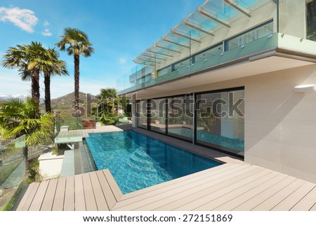 architecture, modern house, beautiful patio, outdoor - stock photo
