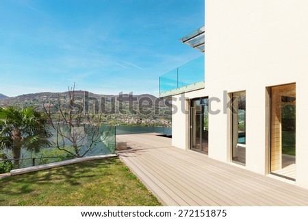 architecture, modern house, beautiful veranda, outdoor - stock photo