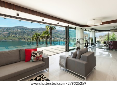 architecture, modern house, beautiful veranda overlooking the lake, interior - stock photo