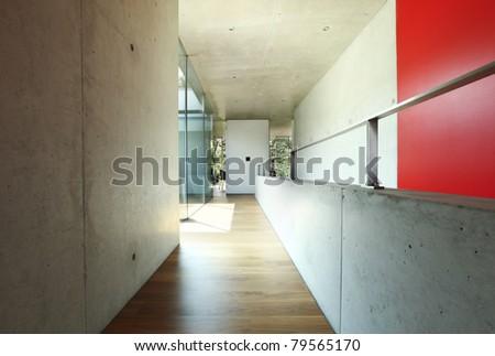 architecture, modern house , corridor interior - stock photo