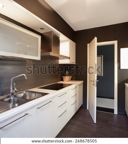 Architecture, modern house, domestic kitchen view - stock photo
