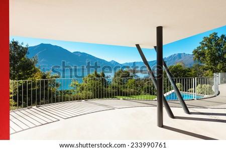 Architecture, modern villa, view from the veranda - stock photo