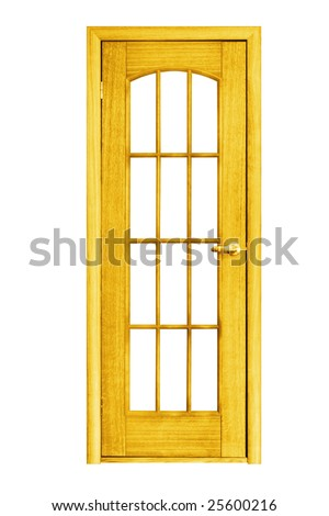 architecture object. wooden door isolated on white background