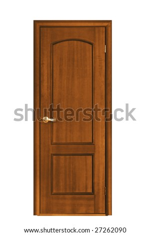 architecture object; wooden door isolaten on white background - stock photo