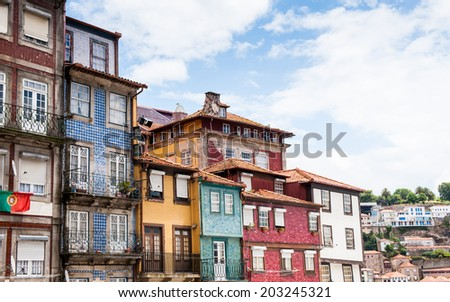 Architecture of a traditional small quarter of Porto, Portugal. - stock photo