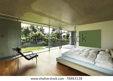 Architecture of Attilio Panzeri, Modern house interior , bedroom - stock photo