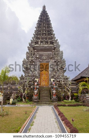 Architecture of Baliness Style Temple in Bali Indonesia - stock photo