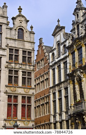 Architecture of Brussels. Ancient houses in the town square. Fragment. Spring, daylight.
