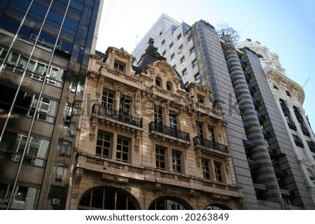 Architecture of buildings in busy Buenos Aires - stock photo