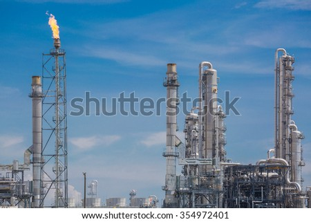 Architecture of Chemical refinery plant with blue sky , When burning gas on flair structure