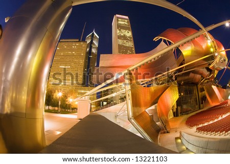 Architecture of Chicago at night. - stock photo