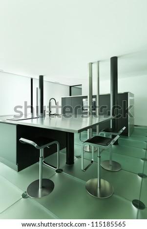 Architecture of De Angelis Mazza, interior, modern design, kitchen - stock photo