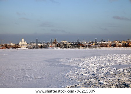 Architecture of downtown Helsinki, Finland - distant view from frozen Baltic Sea
