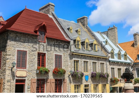 Architecture of downtown Quebec, Canada - stock photo