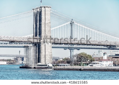 Architecture of famous New York City in USA  NYC most powerful place of America with five boroughs - Brooklyn, Queens, Manhattan, the Bronx, Staten Island. Image with high key filter effect. - stock photo