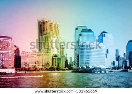 Architecture of famous skyscraper buildings in New York City NYC powerful city of USA with five boroughs,Brooklyn, Queens, Manhattan, the Bronx, Staten Island. Image with rainbow colors filter effect