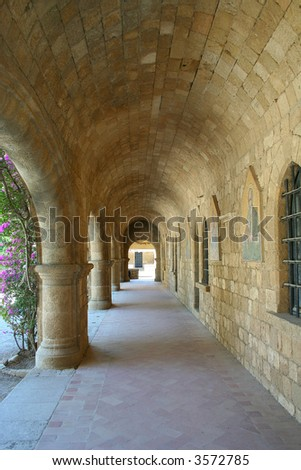 Architecture of Filerimos monastery, Rhodes Island, Greece