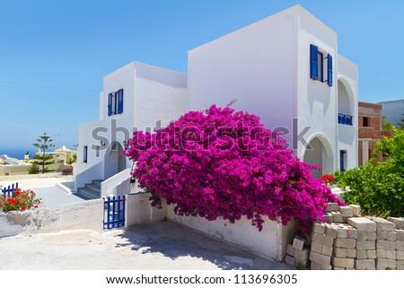 Architecture of Fira town on Santorini island, Greece - stock photo
