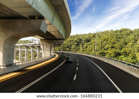 Architecture of highway construction with beautiful curves in daytime in Taiwan, Asia. - stock photo