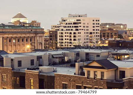 Architecture of Indianapolis, Indiana. Seen evening time. - stock photo