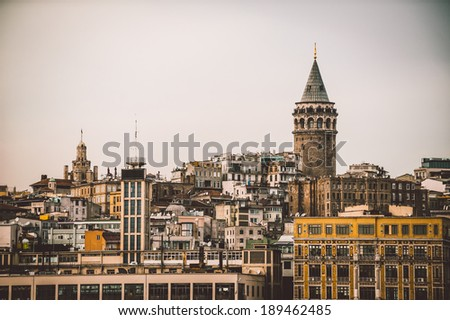 Architecture of Istanbul and Galata Tower - stock photo