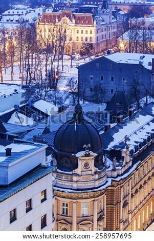 Architecture of Ljubljana with University of Ljubljana. Ljubljana, Slovenia - stock photo