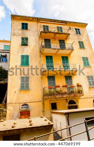 Architecture of Manarola (Manaea),  La Spezia, Liguria, Italy. It's one of the lands of Cinque Terre, UNESCO World Heritage Site