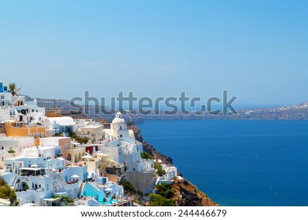 Architecture of Oia town on Santorini island, Greece - stock photo