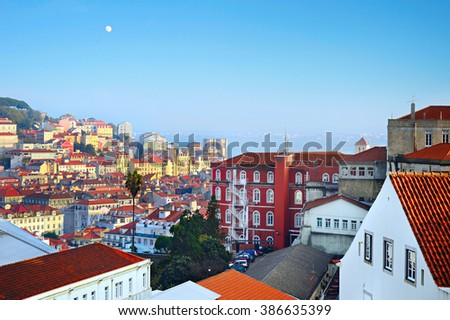 Architecture of Old Town of Lisbon at sunset. Portugal - stock photo