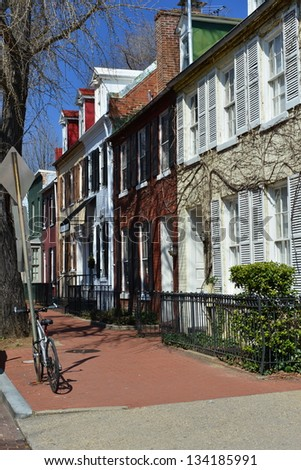 Architecture of picturesque area of Georgetown, Washington DC, United States - stock photo