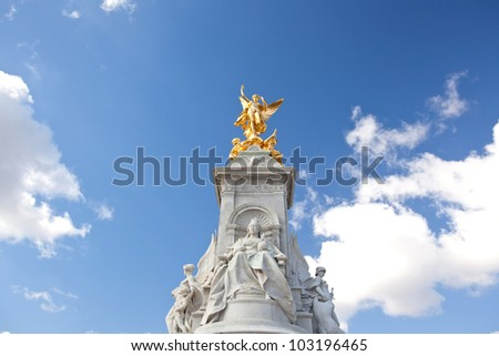 Architecture of Queen Victoria Memorial Statue at Buckingham Palace, London England UK - stock photo