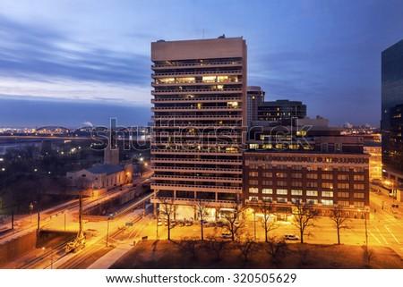 Architecture of St. Louis at sunrise. St. Louis, Missouri, USA. - stock photo
