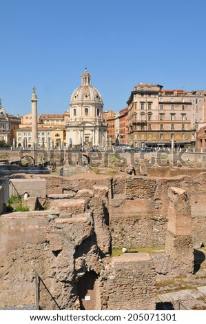 Architecture of the ancient Trajan's Market in the historical centre of Rome, Italy