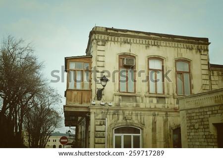 Architecture of the Baku Old City - Icherisheher, Azerbaijan - stock photo