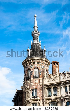 Architecture of the Calle de Alcala (Alcala street), Madrid, Spain. Alcala street is the longest street in Madrid, 10.5 km