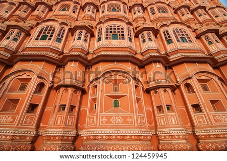 Architecture of the famous Hawa Mahal or Palace of the Winds, Jaipur, India - stock photo