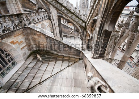 Architecture of the Milan Cathedral overhead shot - stock photo