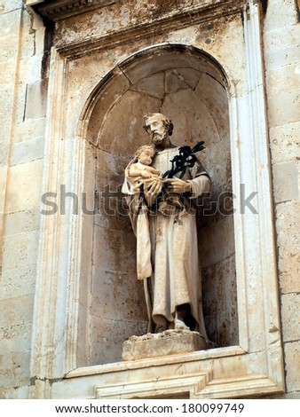 Architecture of the Old City of Dubrovnik (Croatia), a city on the Adriatic Sea, It is one of the most prominent tourist destinations in the Mediterranean  - stock photo