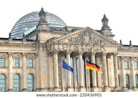 Architecture of the Reichstag building in Berlin, Germany - stock photo