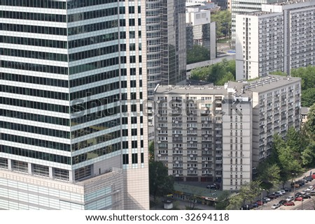 architecture of Warsaw in Poland - stock photo