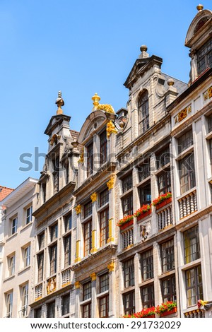Architecture on the Grand Place (Grote Markt), the central square of Brussels, the UNESCO World Heritage