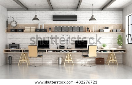 Architecture or engineering workplace office with two workstation in a loft- 3d rendering - stock photo