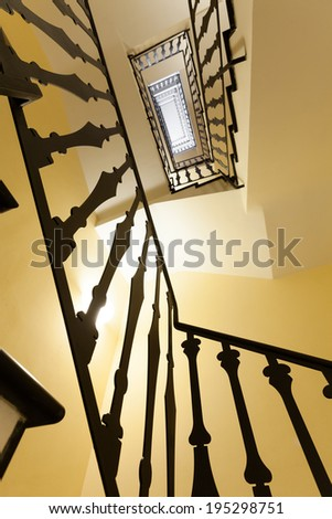 Architecture, perspective view of a staircase antique