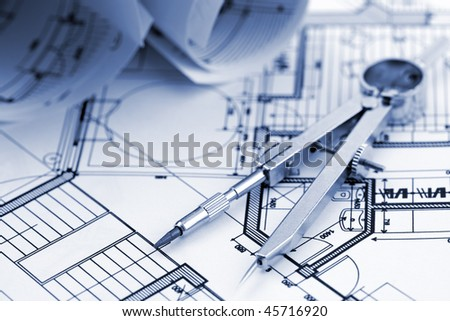 Architecture plan of interior & compass - stock photo