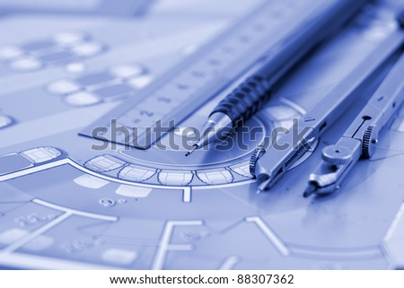 Architecture plan of interior & work tools - ruler, pencil, compass - stock photo