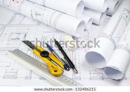 architecture plans and tools - stock photo